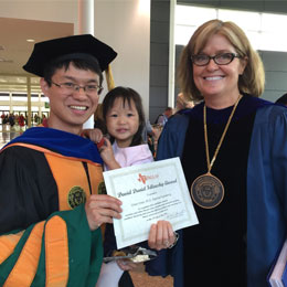Chen pictured with Dr. Marion Underwood, Dean of Graduate Studies at UT Dallas