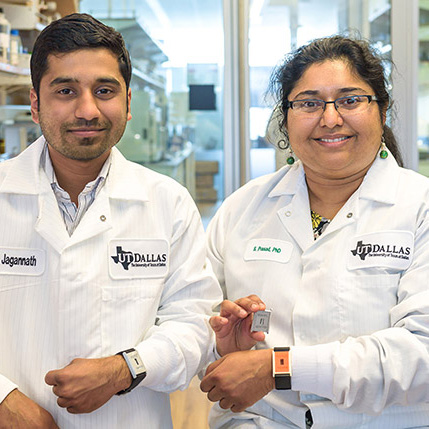 Badrinath Jagannath and Shalini Prasad display biosensors